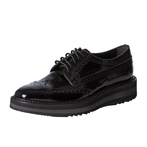 7a1a9d28 Shop Prada Women's 'Brogue' Black Leather Platform Oxfords ...