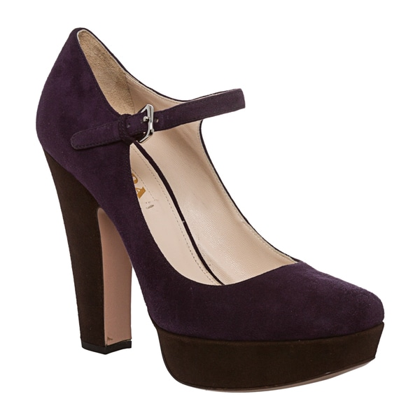 Prada Women's Purple Suede Platform Mary Jane Pumps