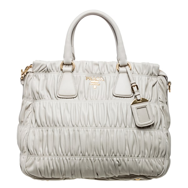 Prada 'Gaufre' Off-white Ruched Nappa Leather Zip-top Tote