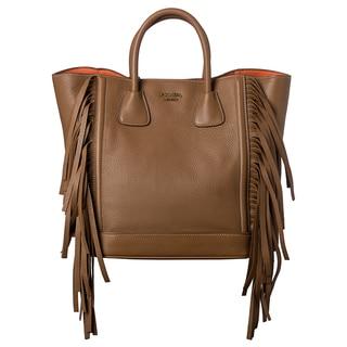 Prada 'Cervo' Camel Leather Side Fringe Tote Bag