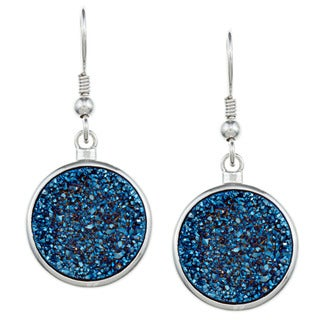 La Preciosa Sterling Silver Blue Druzy Quartz Circle Earrings