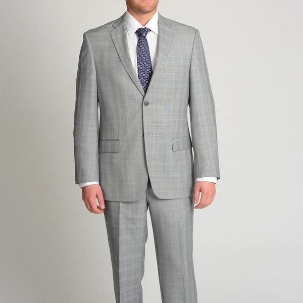 Circola Moda Men's Modern Fit Grey Plaid 2-piece Suit
