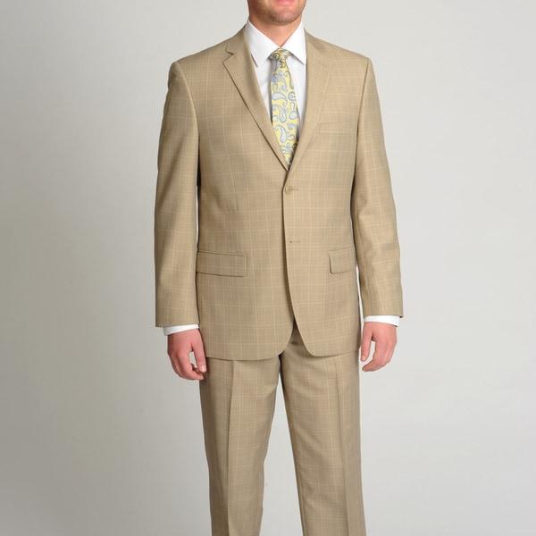 Circola Moda Men's Modern Fit Tan Plaid 2-piece Suit