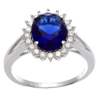 Sterling Silver Simulated Sapphire and Cubic Zirconia Ring