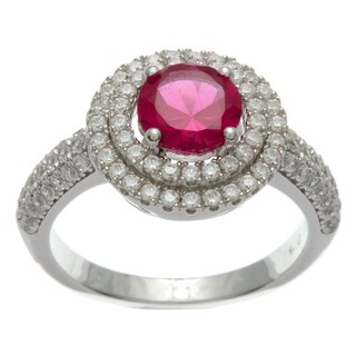 Sterling Silver Simulated Ruby and Cubic Zirconia Double Halo Ring
