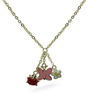 Junior Jewels 18k Gold Overlay Children's Triple Enamel Charm Necklace