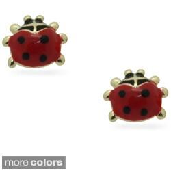 Junior Jewels 18k Gold Overlay Children's Enamel Ladybug Earrings