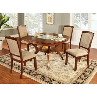 Furniture of America Jalayan Crack Glass Insert 5-piece Dining Set
