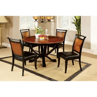 Furniture of America Lyda Acacia Wood/ Black 5-piece Dining Set  sc 1 st  Overstock & Leather Kitchen u0026 Dining Room Sets For Less | Overstock.com