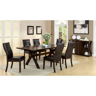 Furniture of America Ayala Contemporary Dark Oak 7-piece Dining Set with 18-inch Expandable Leaf