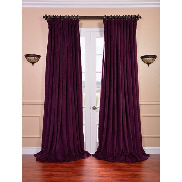 Exclusive Fabrics Eggplant Velvet Blackout Extra Wide Curtain Panel