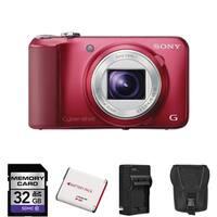 Sony Cyber-Shot DSC-H90 Red Digital Camera 32GB Bundle