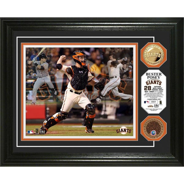 MLB Buster Posey 'Triple Play' Used Dirt Coin Photo Mint