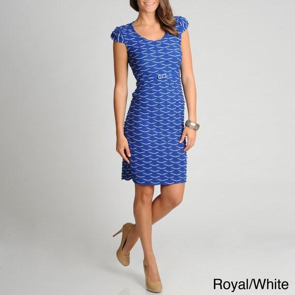 Lennie for Nina Leonard Women's Wavy Knit Belted Dress