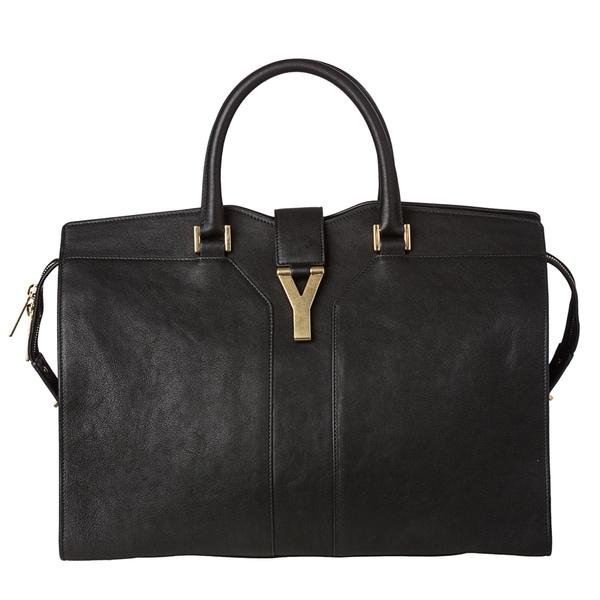 Saint Laurent 'Cabas Y' Large Black Leather Tote Bag