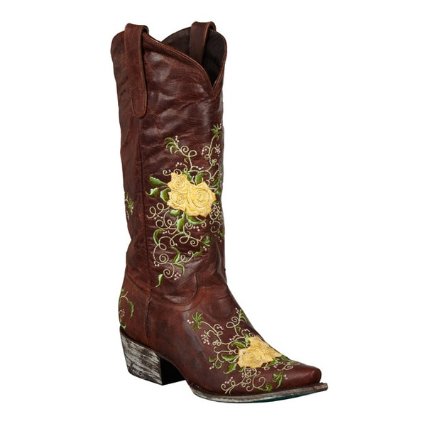 Lane Boots Women's 'Brandy' Yellow Rose Cowboy Boots