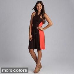 Biacci Women's Colorblocked Halter Dress