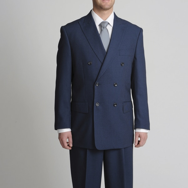 Caravelli Fusion Men's Double Breasted Navy Mini-Check Suit