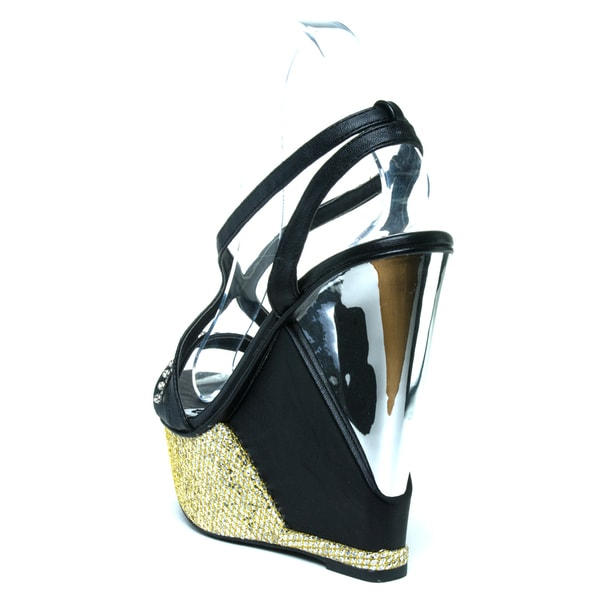 black glitter wedge shoes