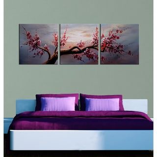 'Plum Blossom 517' 3-piece Gallery-wrapped Hand Painted Canvas Art Set