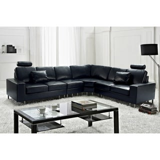 Stockholm Black Contemporary Design Sectional Leather Sofa by Beliani