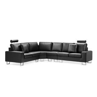 & The HOLM Black Contemporary Design Sectional Leather Sofa - DC &