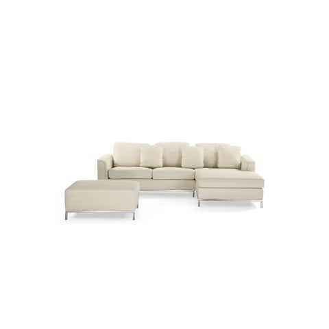 Modern Beige Leather Sectional Sofa with Ottoman - OLLON