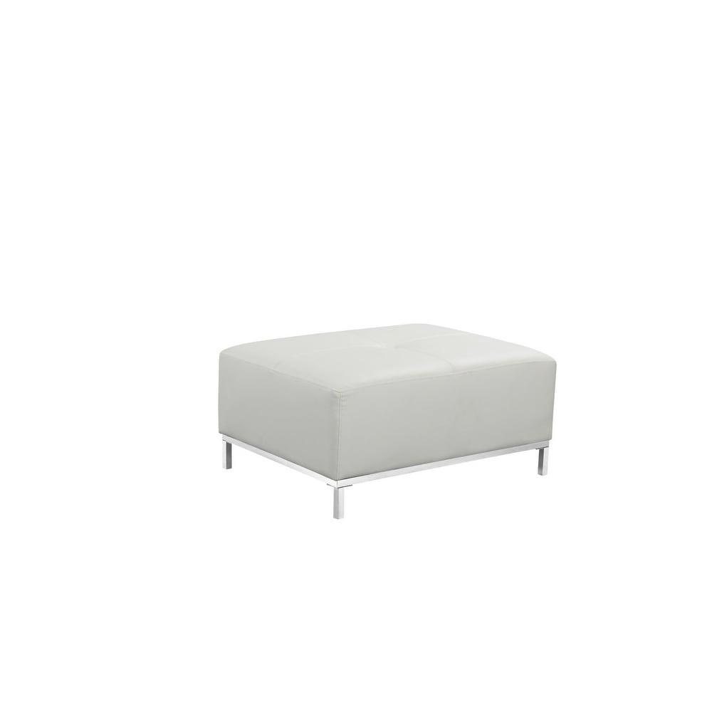 Admirable Modern Beige Leather Sectional Sofa With Ottoman Ollon Customarchery Wood Chair Design Ideas Customarcherynet