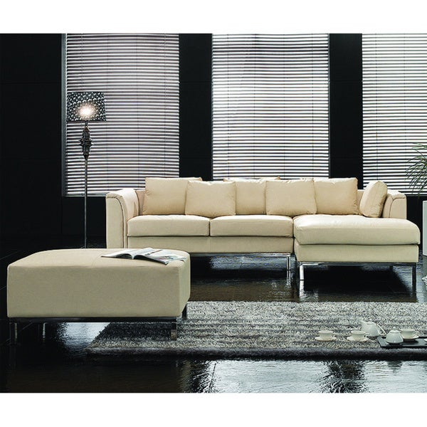 Genuine Leather Modern Sectional Sofa: Oslo Beige Modern Design Genuine Leather Sectional Sofa By