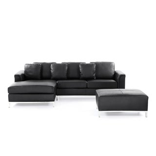 Velago OLLON Black Modern Sectional Leather Sofa with Ottoman