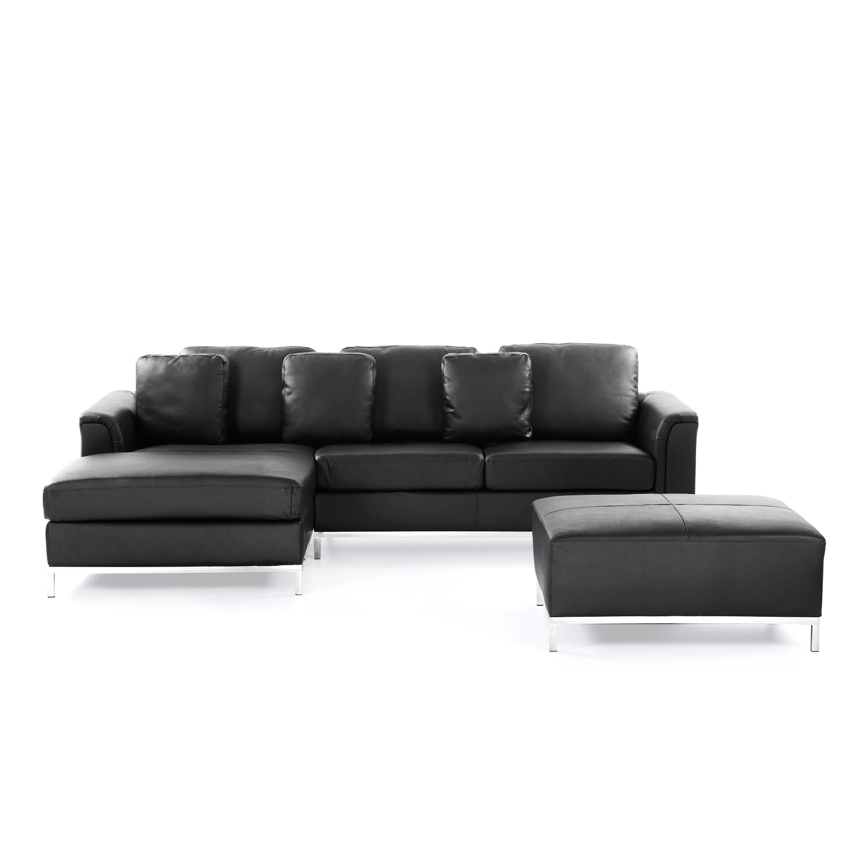 Velago OLLON Black Modern Sectional Leather Sofa with Ottoman