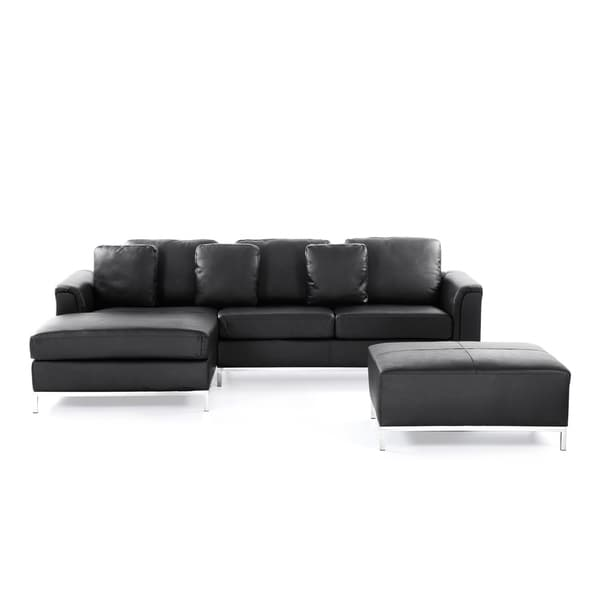 Shop Velago OLLON Black Modern Sectional Leather Sofa with Ottoman ...