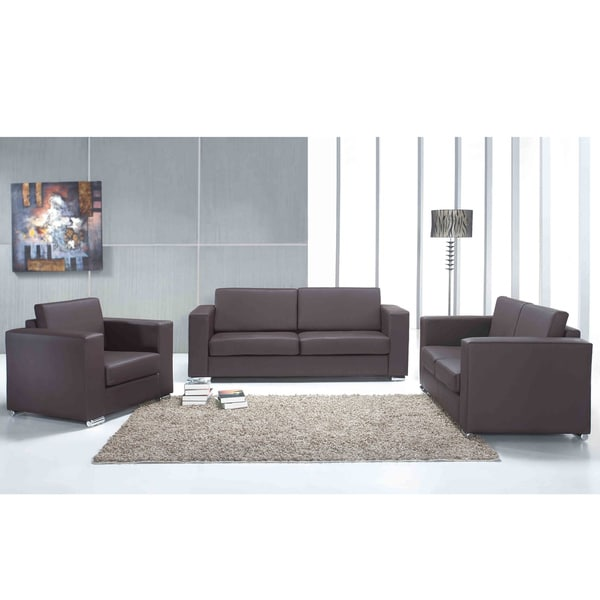 helsinki brown genuine leather sofa set in european design by beliani