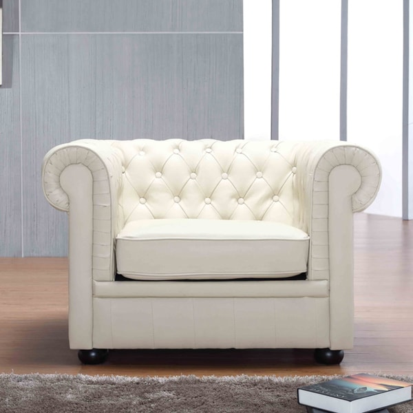 Chesterfield-style Quilted Seat Beige Genuine Leather Armchair