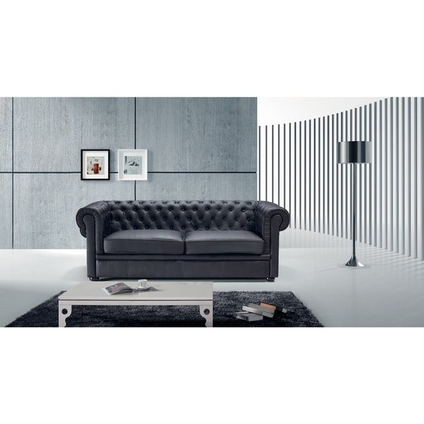 Black Leather Chesterfield Two-seater Sofa