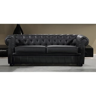 Black Leather 3-seater Chesterfield Style Sofa by Velago - AVIGNON