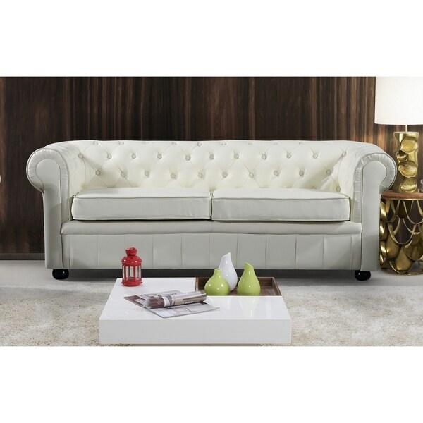 Cream Genuine Leather Chesterfield Style 3 Seater Sofa   AVIGNON