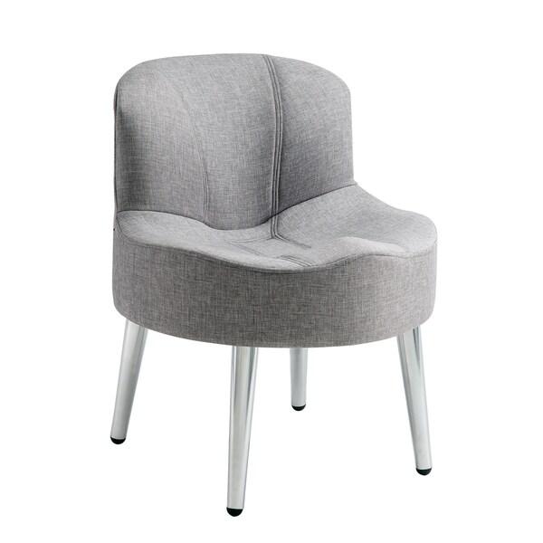 TRIBECCA HOME Bridgeport Ergonomic Contour Grey Linen Swivel Modern Accent Chair