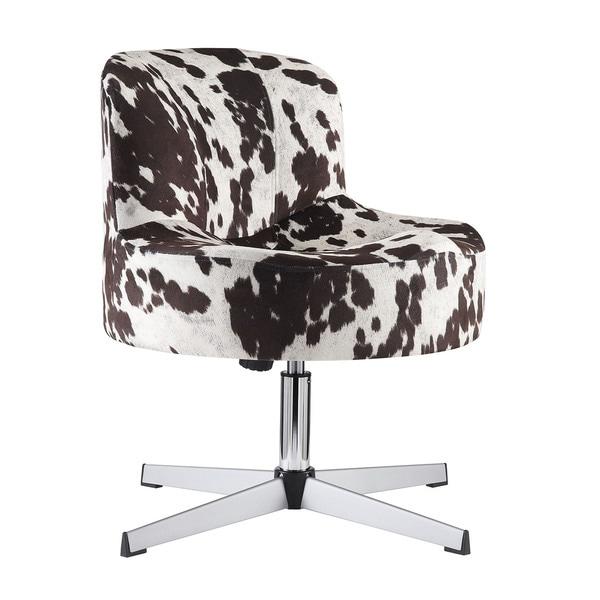 TRIBECCA HOME Bridgeport Ergonomic Contour Cowhide Fabric Swivel Modern Cross Legs Accent Chair
