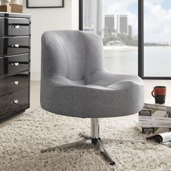 TRIBECCA HOME Bridgeport Ergonomic Contour Grey Linen Swivel Modern Cross Legs Accent Chair