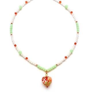 Every Morning Design Orange Flower Lampwork Heart Necklace