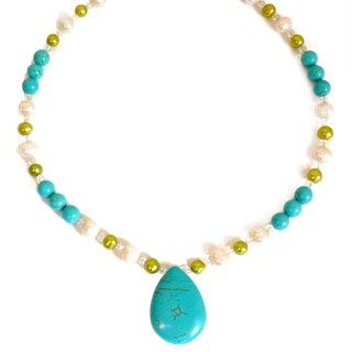 Every Morning Design Turquoise and Green Pearl Necklace