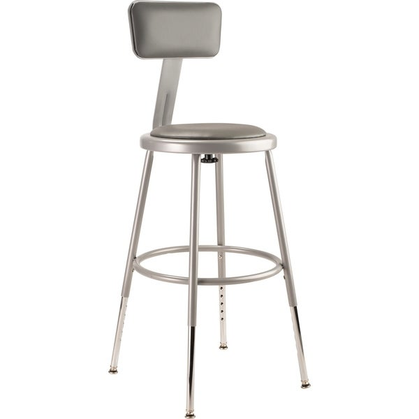 NPS Height Adjustable Vinyl Padded Steel Stool With Backrest, Grey