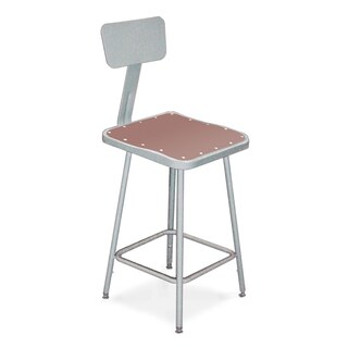 National Public Seating Hardboard Seat and Metal Backrest Square Stool