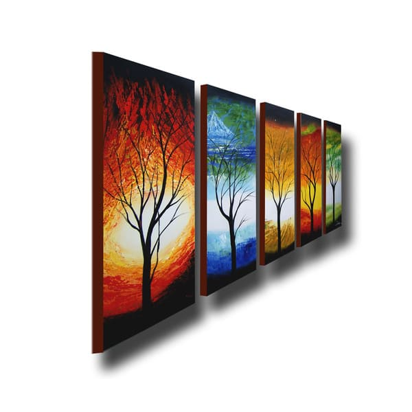 Shop Abstract Tree Hand Painted Oil On Canvas Art Set
