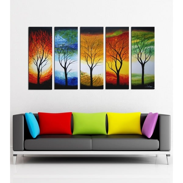 'Abstract Tree' Hand Painted Oil on Canvas Art Set. Opens flyout.