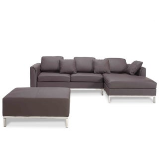 & OLLON Brown Modern Sectional Sofa Genuine Leather - DC &