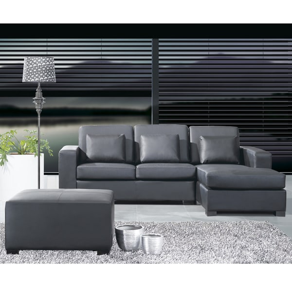 Black Leather L Shape Sectional Corner Sofa With Ottoman