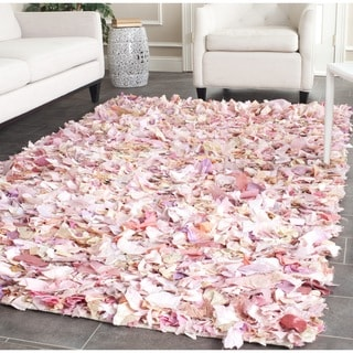 Safavieh Handmade Decorative Rio Shag Pink Rug (8' Square)