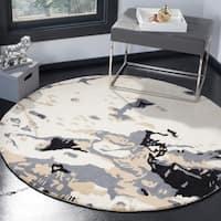 Safavieh Handmade Bella Modern Abstract Ivory/ Grey Wool Rug - 5' x 5' round